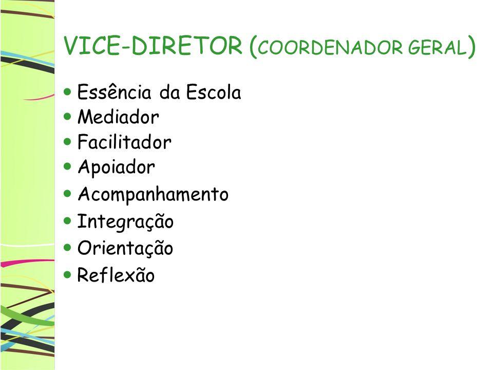 VICE-DIRETOR ( COORDENADOR GERAL ) Essência da Escola Mediador Facilitador Apoiador Acompanhamento Integração Orientação Reflexão