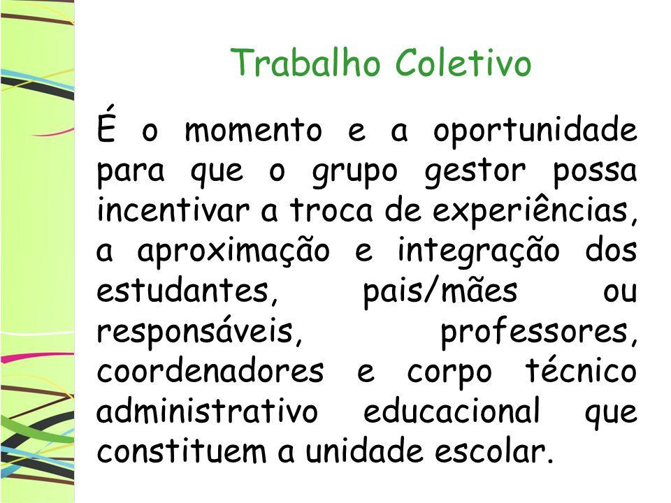 Trabalho Coletivo É o momento e a oportunidade para que o grupo gestor possa incentivar a troca de experiências, a aproximação e integração dos estuda