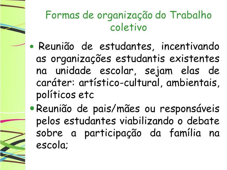 Formas de organização do Trabalho coletivo Reunião de estudantes, incentivando as organizações estudantis existentes na unidade escolar, sejam elas de
