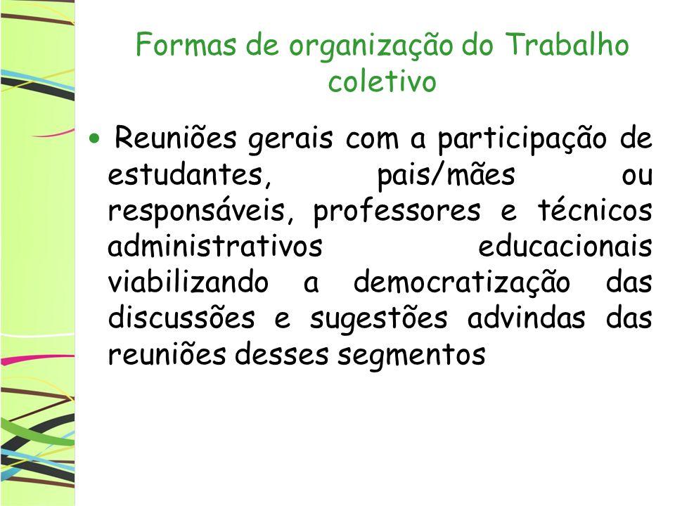 Formas de organização do Trabalho coletivo Reuniões gerais com a participação de estudantes, pais/mães ou responsáveis, professores e técnicos adminis