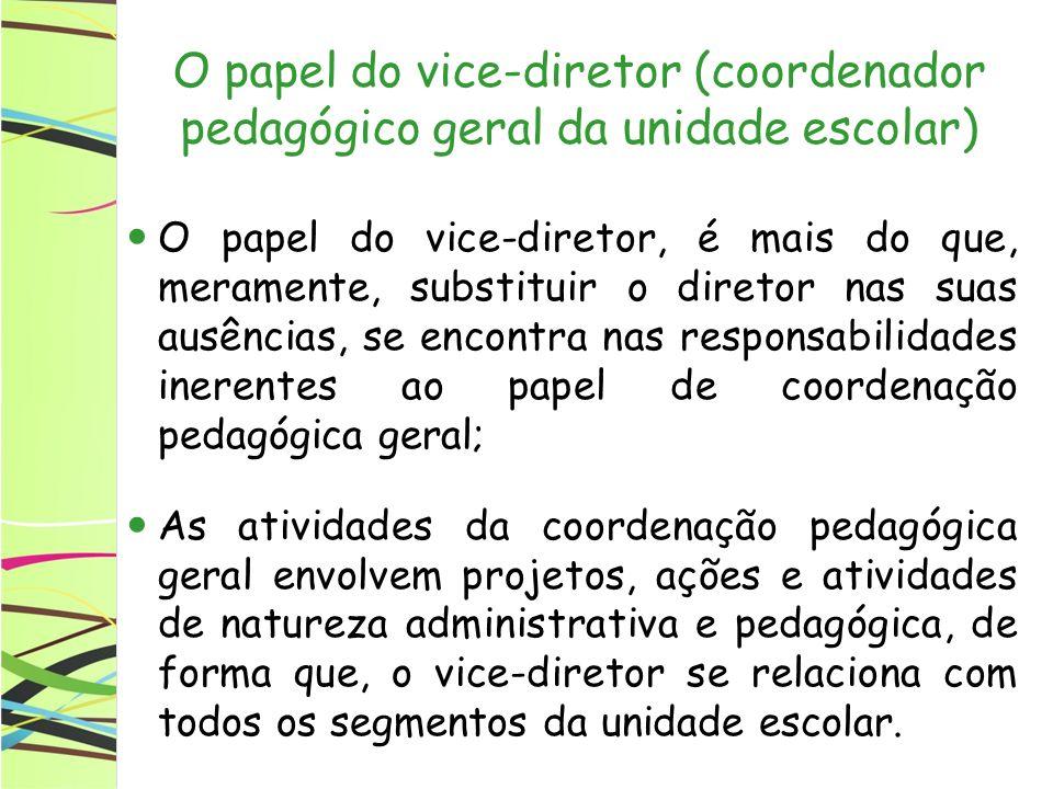 O papel do vice-diretor A coordenação pedagógica geral da escola (VICE-DIREÇÃO) é por excelência, uma atividade de liderança da comunidade escolar, que não se confunde com o papel do diretor, mas complementa, auxilia, dá subsídios, para o bom desempenho da equipe gestora