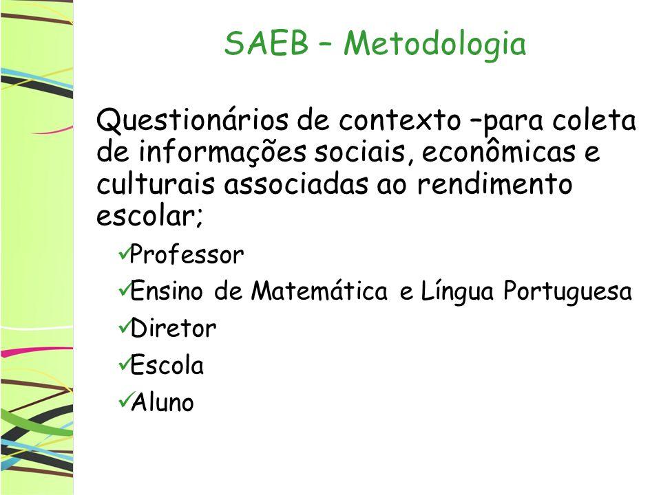 SAEB – Metodologia Questionários de contexto –para coleta de informações sociais, econômicas e culturais associadas ao rendimento escolar; Professor E
