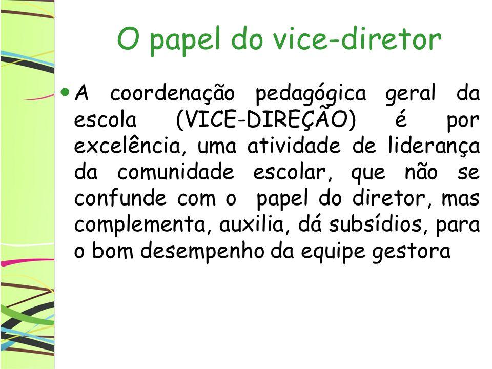 O papel do vice-diretor A coordenação pedagógica geral da escola (VICE-DIREÇÃO) é por excelência, uma atividade de liderança da comunidade escolar, qu