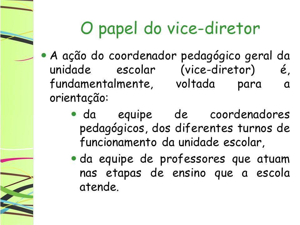 O papel do vice-diretor A ação do coordenador pedagógico geral da unidade escolar (vice-diretor) é, fundamentalmente, voltada para a orientação: da eq
