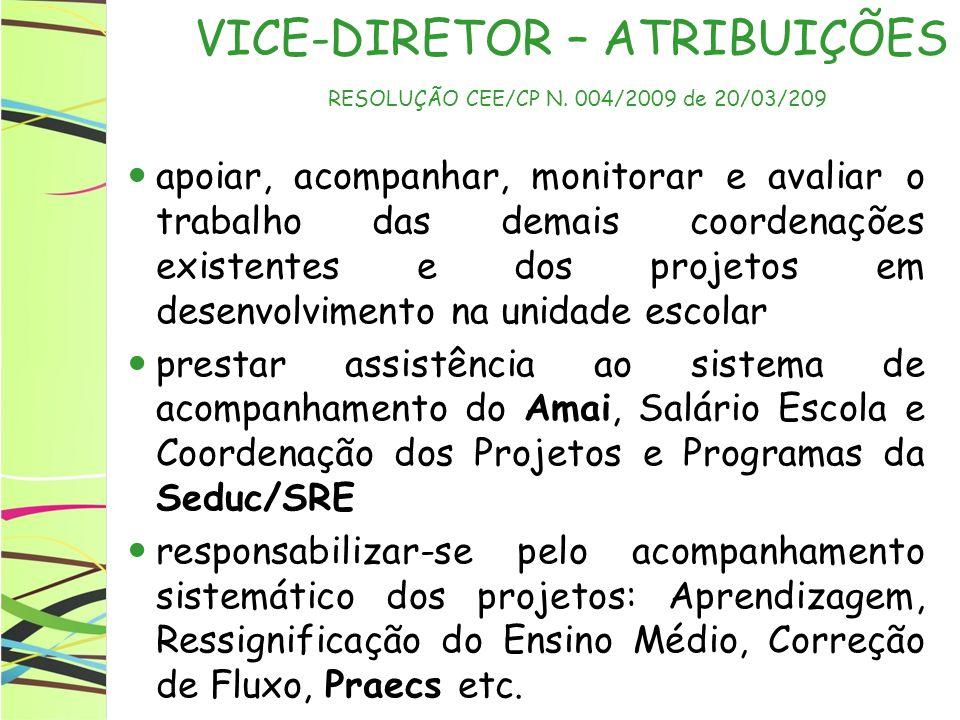 VICE-DIRETOR – ATRIBUIÇÕES RESOLUÇÃO CEE/CP N. 004/2009 de 20/03/209 apoiar, acompanhar, monitorar e avaliar o trabalho das demais coordenações existe