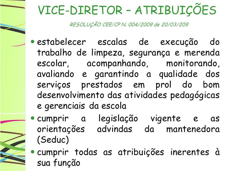 VICE-DIRETOR – ATRIBUIÇÕES RESOLUÇÃO CEE/CP N. 004/2009 de 20/03/209 estabelecer escalas de execução do trabalho de limpeza, segurança e merenda escol