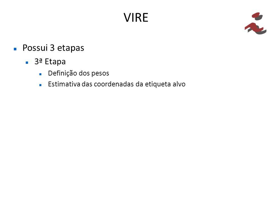VIRE Possui 3 etapas 3ª Etapa Definição dos pesos Estimativa das coordenadas da etiqueta alvo