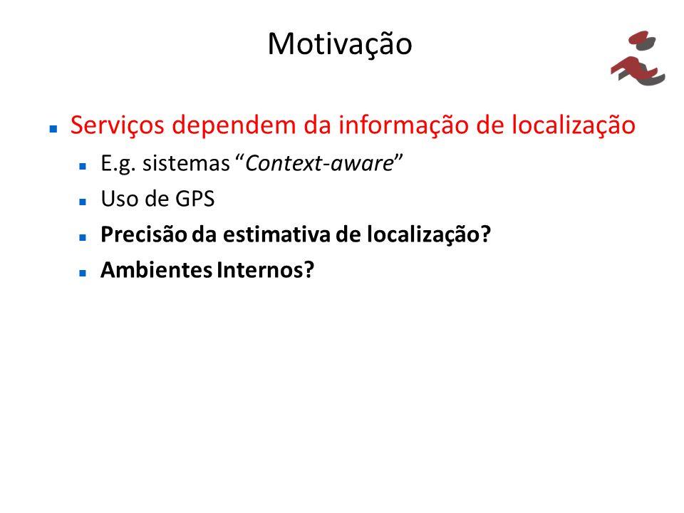 Motivação Serviços dependem da informação de localização E.g. sistemas Context-aware Uso de GPS Precisão da estimativa de localização? Ambientes Inter
