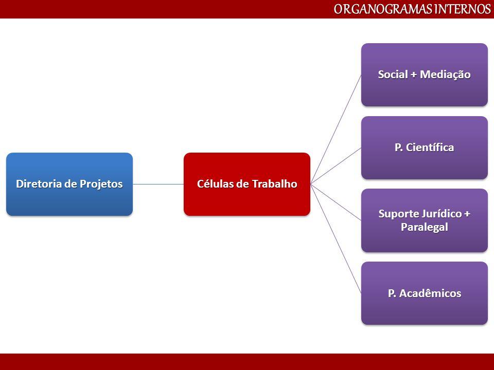 Diretoria de Projetos Células de Trabalho Social + Mediação P. Científica Suporte Jurídico + Paralegal P. Acadêmicos ORGANOGRAMAS INTERNOS