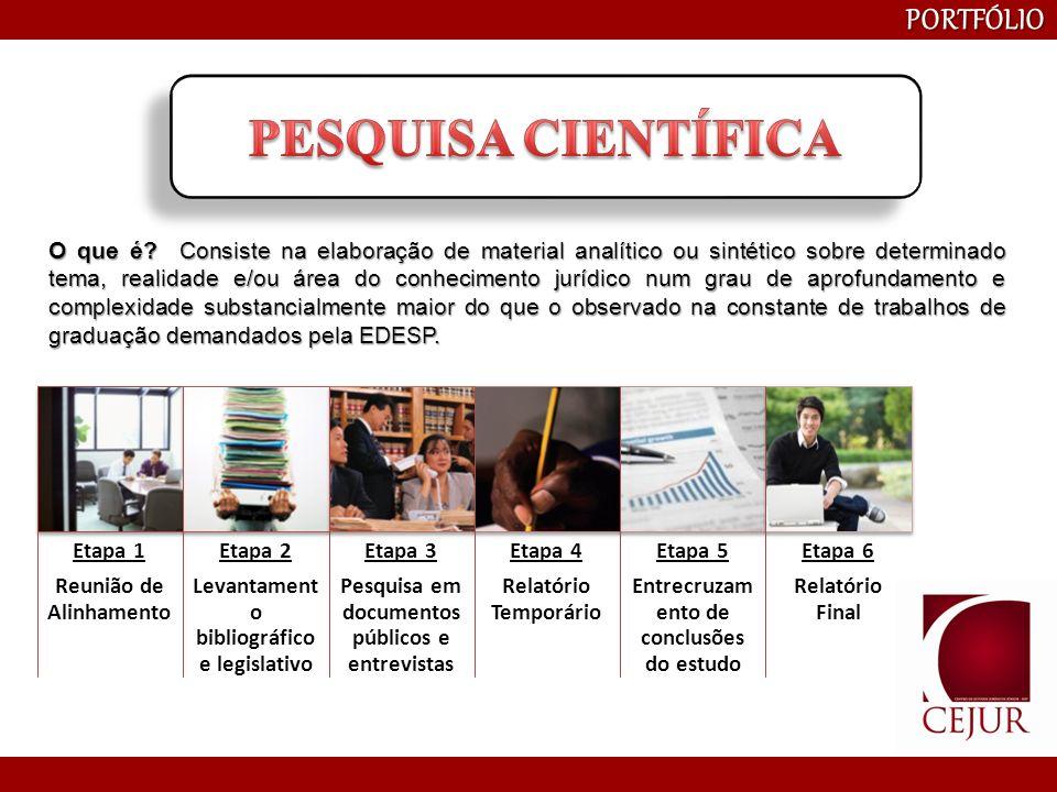 PORTFÓLIO Etapa 1 Identificação do tema e participantes Etapa 2 Elaboração de cronograma Etapa 3 Seleção de palestrantes Etapa 4 Organização Final O que é o Projeto Acadêmico do CEJUR.