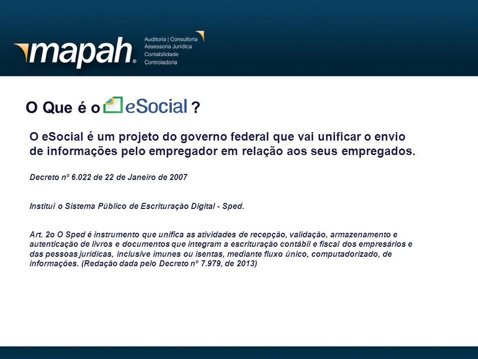 O Que é o ? O eSocial é um projeto do governo federal que vai unificar o envio de informações pelo empregador em relação aos seus empregados. Decreto
