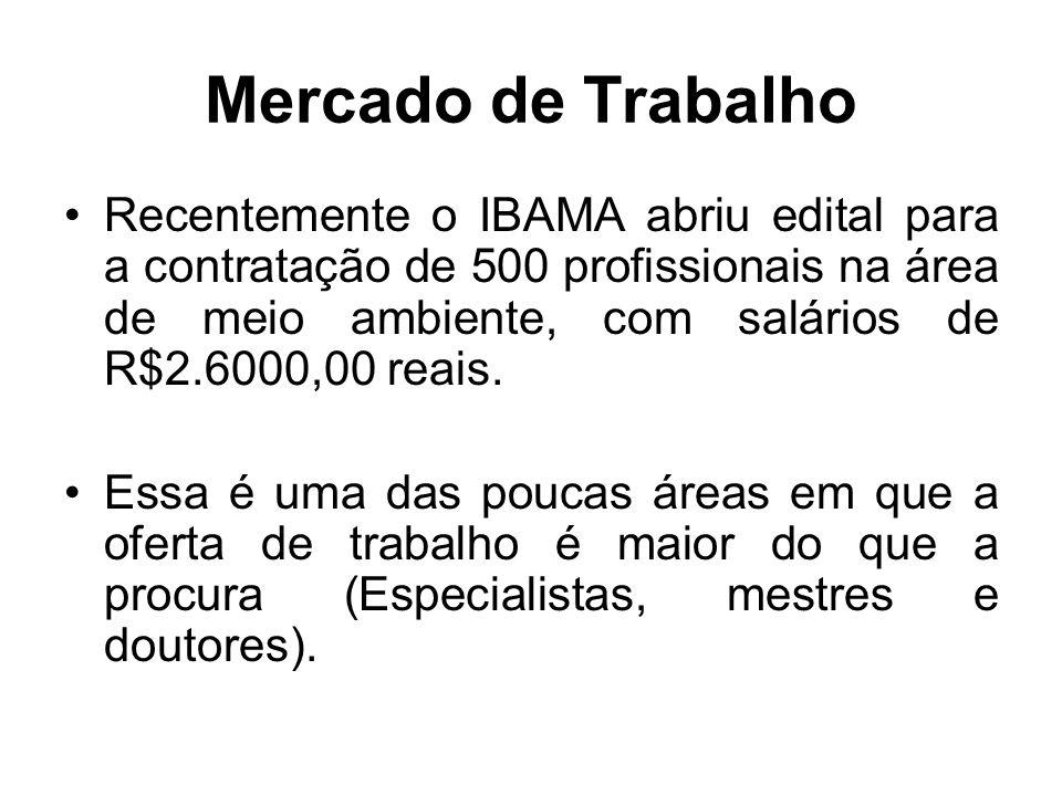 Recentemente o IBAMA abriu edital para a contratação de 500 profissionais na área de meio ambiente, com salários de R$2.6000,00 reais. Essa é uma das