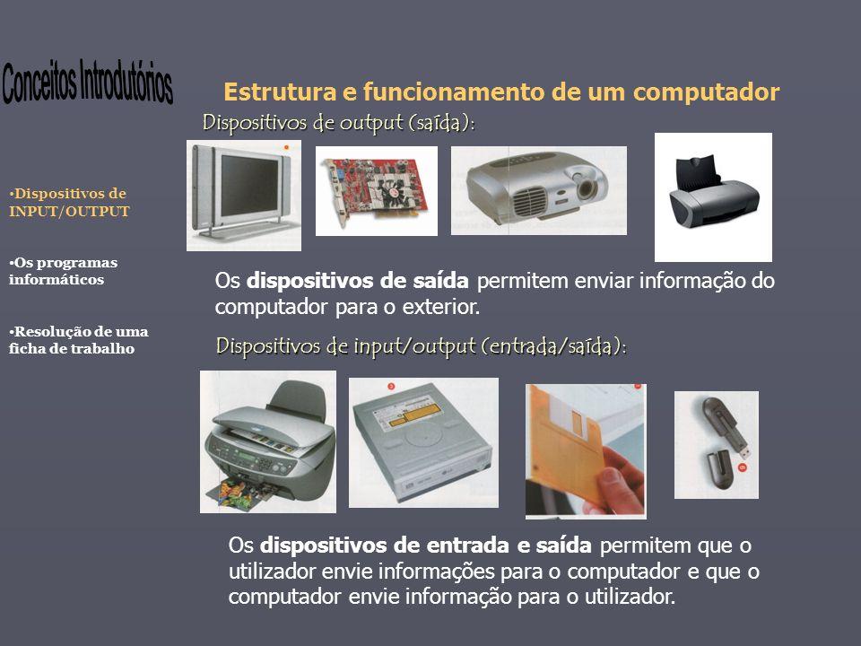 Estrutura e funcionamento de um computador Os dispositivos de saída permitem enviar informação do computador para o exterior. Dispositivos de output (
