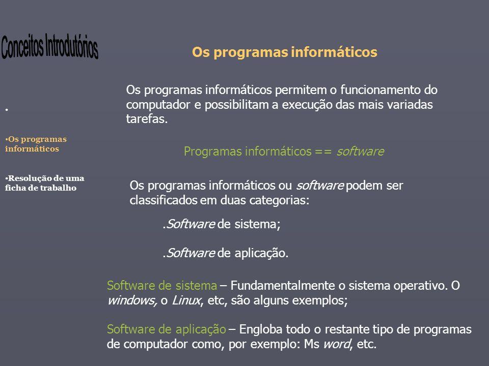 Os programas informáticos Os programas informáticos permitem o funcionamento do computador e possibilitam a execução das mais variadas tarefas. Os pro