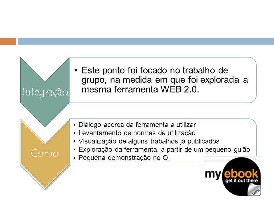Integração Este ponto foi focado no trabalho de grupo, na medida em que foi explorada a mesma ferramenta WEB 2.0. Como Diálogo acerca da ferramenta a