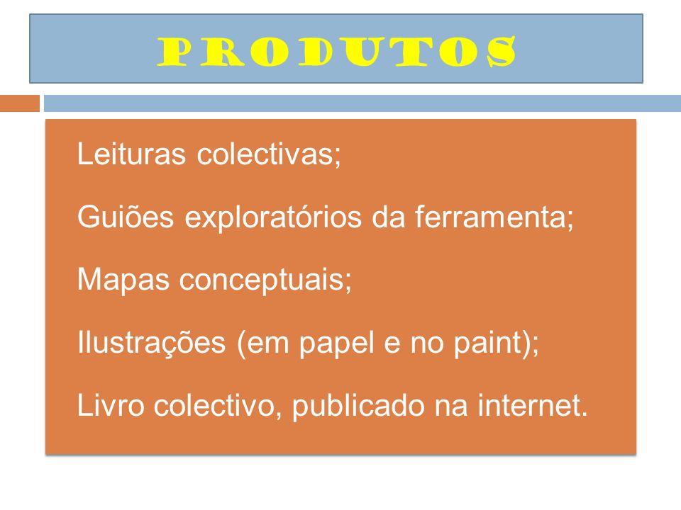 Leituras colectivas; Guiões exploratórios da ferramenta; Mapas conceptuais; Ilustrações (em papel e no paint); Livro colectivo, publicado na internet.