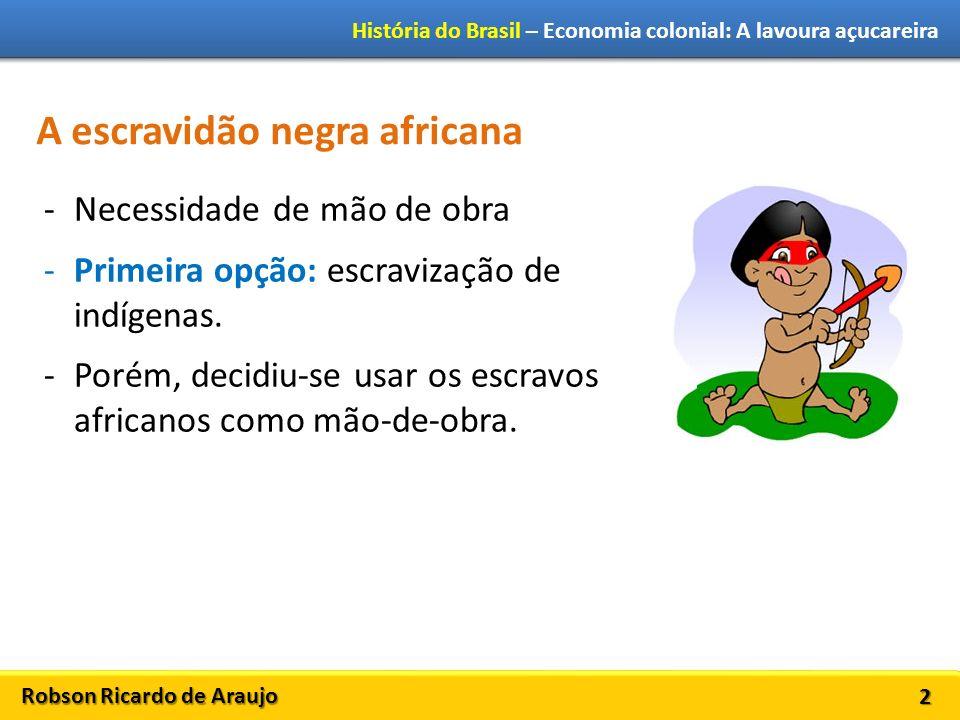 Robson Ricardo de Araujo História do Brasil – Economia colonial: A lavoura açucareira 2 A escravidão negra africana -Necessidade de mão de obra -Primeira opção: escravização de indígenas.