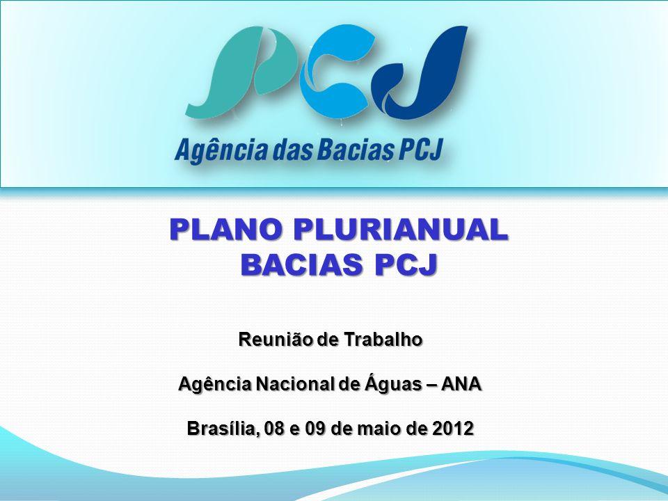Reunião de Trabalho Agência Nacional de Águas – ANA Brasília, 08 e 09 de maio de 2012 PLANO PLURIANUAL BACIAS PCJ