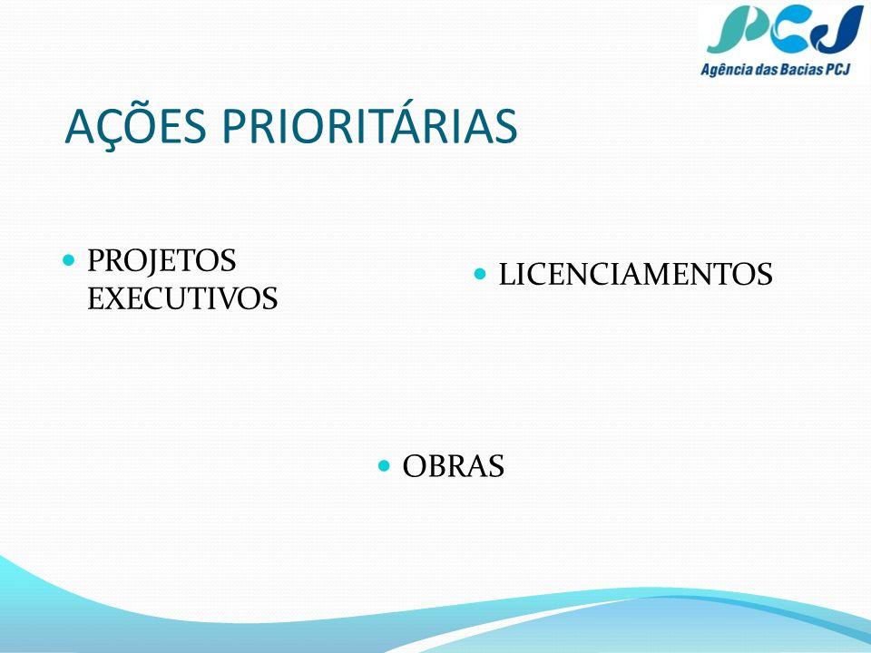 AÇÕES PRIORITÁRIAS PROJETOS EXECUTIVOS LICENCIAMENTOS OBRAS