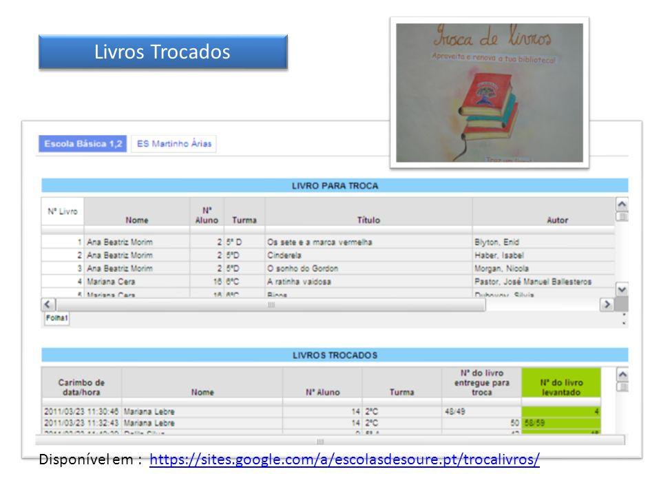 Livros Trocados Disponível em : https://sites.google.com/a/escolasdesoure.pt/trocalivros/https://sites.google.com/a/escolasdesoure.pt/trocalivros/