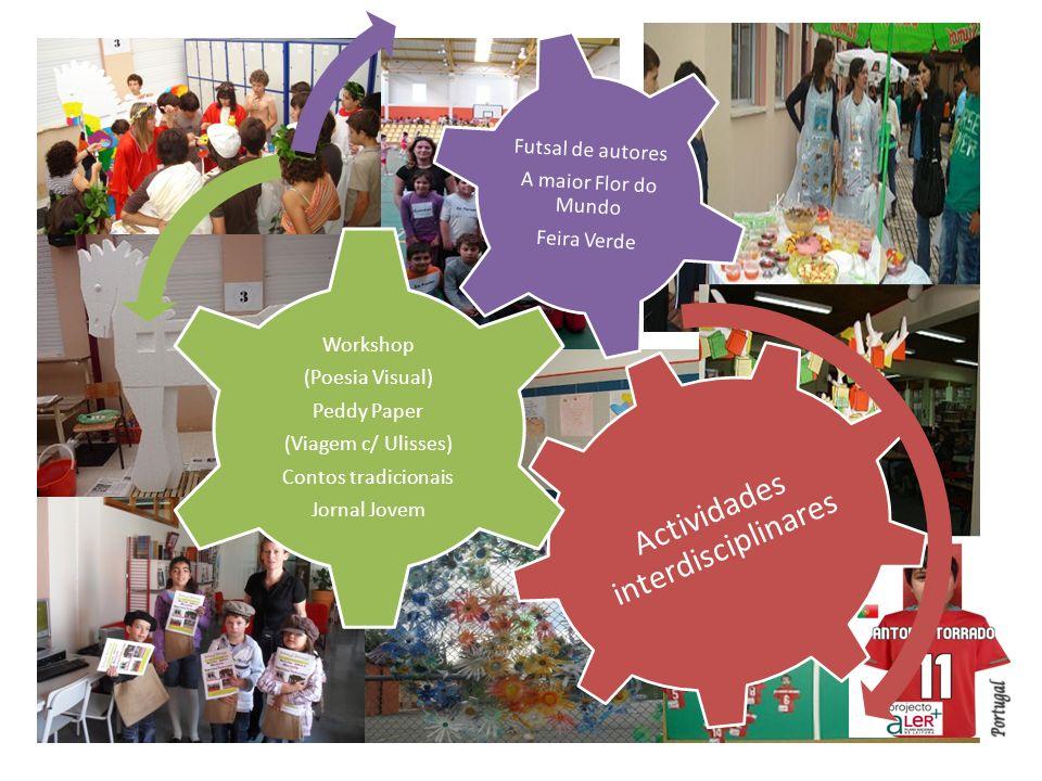 Actividades interdisciplinares Workshop (Poesia Visual) Peddy Paper (Viagem c/ Ulisses) Contos tradicionais Jornal Jovem Futsal de autores A maior Flor do Mundo Feira Verde