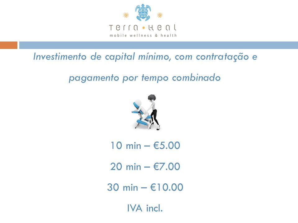 Investimento de capital mínimo, com contratação e pagamento por tempo combinado 10 min – 5.00 20 min – 7.00 30 min – 10.00 IVA incl.