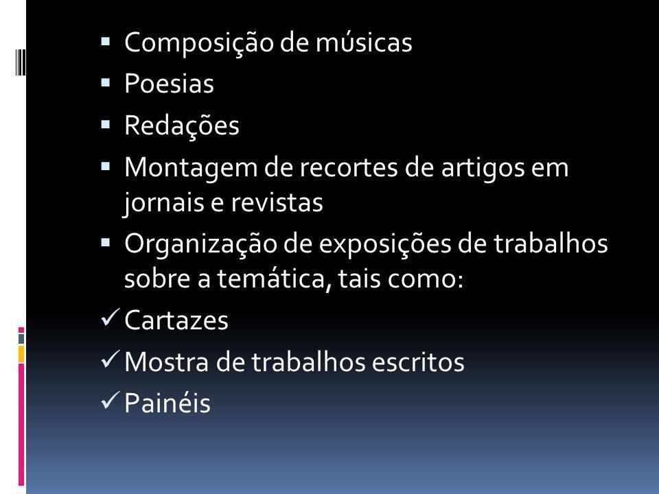 Composição de músicas Poesias Redações Montagem de recortes de artigos em jornais e revistas Organização de exposições de trabalhos sobre a temática, tais como: Cartazes Mostra de trabalhos escritos Painéis