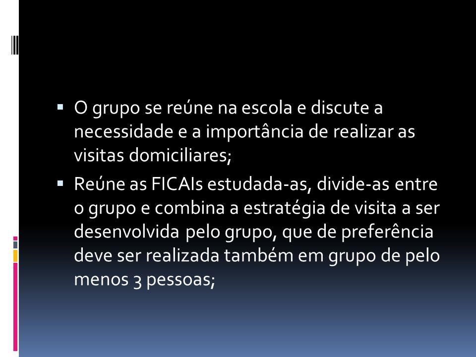 Reúne as FICAIs estudada-as, divide-as entre o grupo e combina a estratégia de visita a ser desenvolvida pelo grupo, que de preferência deve ser realizada também em grupo de pelo menos 3 pessoas;