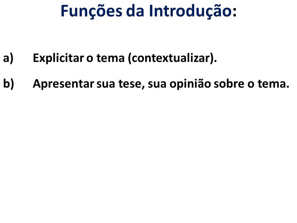 Funções da Introdução: a)Explicitar o tema (contextualizar). b)Apresentar sua tese, sua opinião sobre o tema.