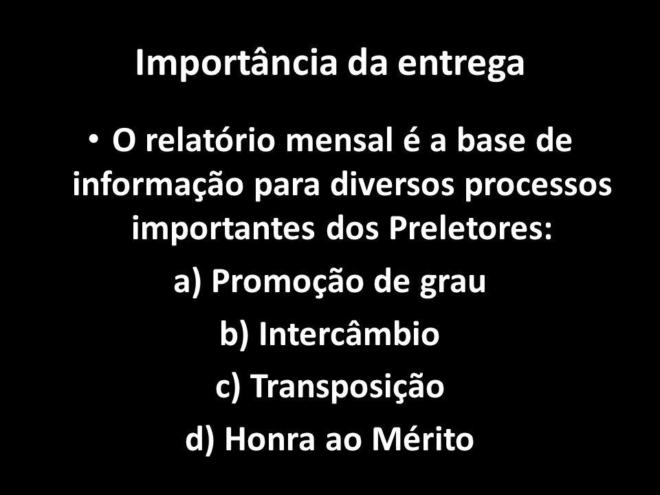 Importância Importância da entrega O relatório mensal é a base de informação para diversos processos importantes dos Preletores: O relatório mensal é