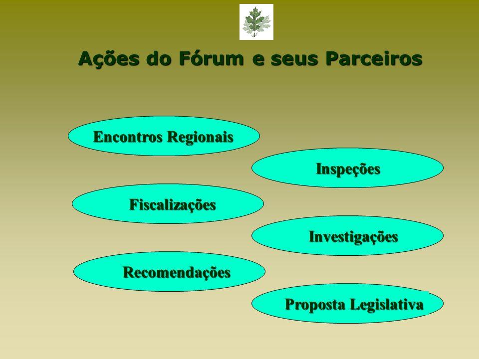 Ações do Fórum e seus Parceiros Encontros Regionais Inspeções Fiscalizações Investigações Recomendações Proposta Legislativa