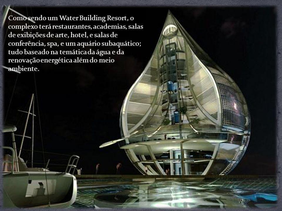 Como sendo um Water Building Resort, o complexo terá restaurantes, academias, salas de exibições de arte, hotel, e salas de conferência, spa, e um aqu