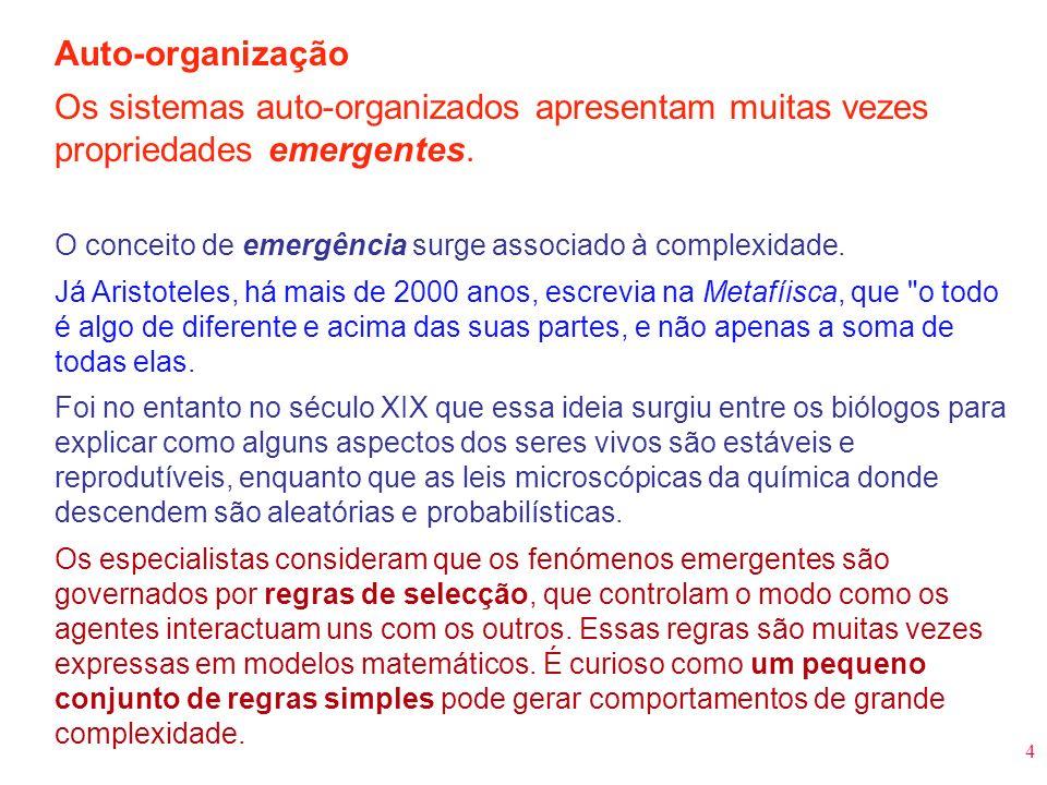 4 Auto-organização Os sistemas auto-organizados apresentam muitas vezes propriedades emergentes. O conceito de emergência surge associado à complexida