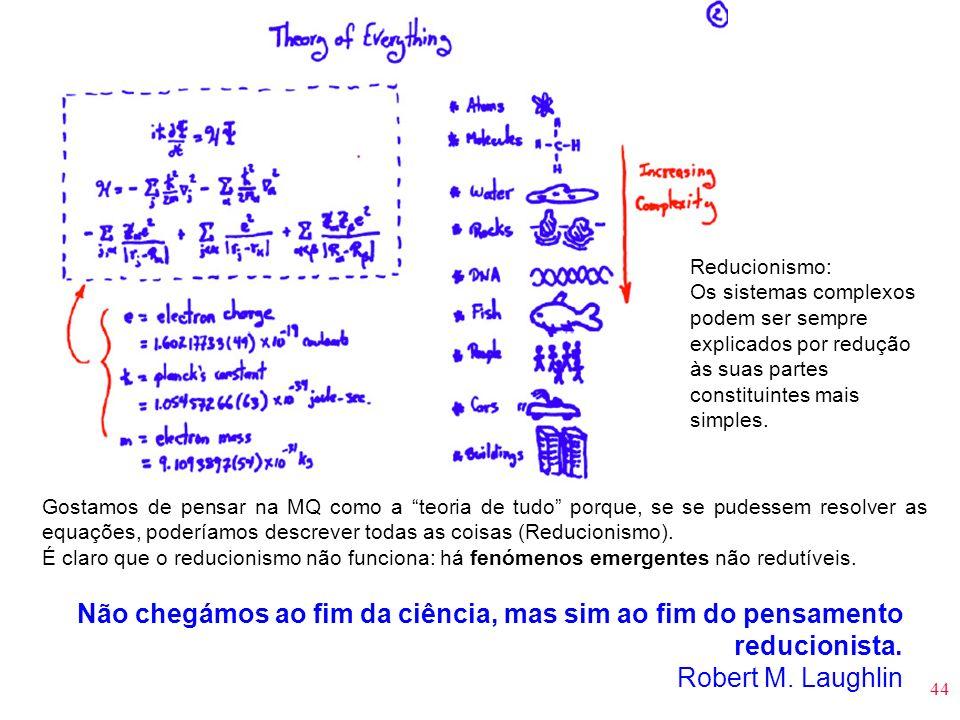 44 Gostamos de pensar na MQ como a teoria de tudo porque, se se pudessem resolver as equações, poderíamos descrever todas as coisas (Reducionismo). É
