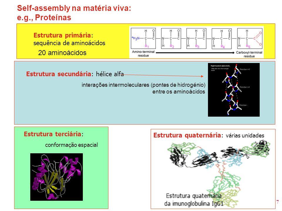 7 Self-assembly na matéria viva: e.g., Proteínas 20 aminoácidos Estrutura primária: sequência de aminoácidos Estrutura secundária: hélice alfa interaç