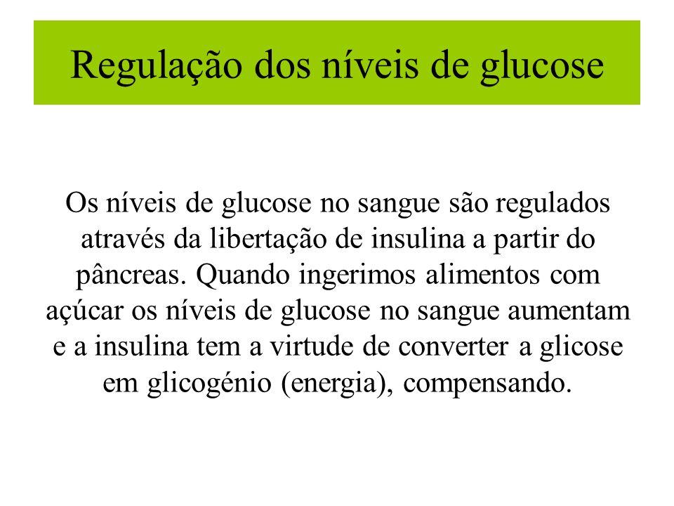 Regulação dos níveis de glucose Os níveis de glucose no sangue são regulados através da libertação de insulina a partir do pâncreas. Quando ingerimos