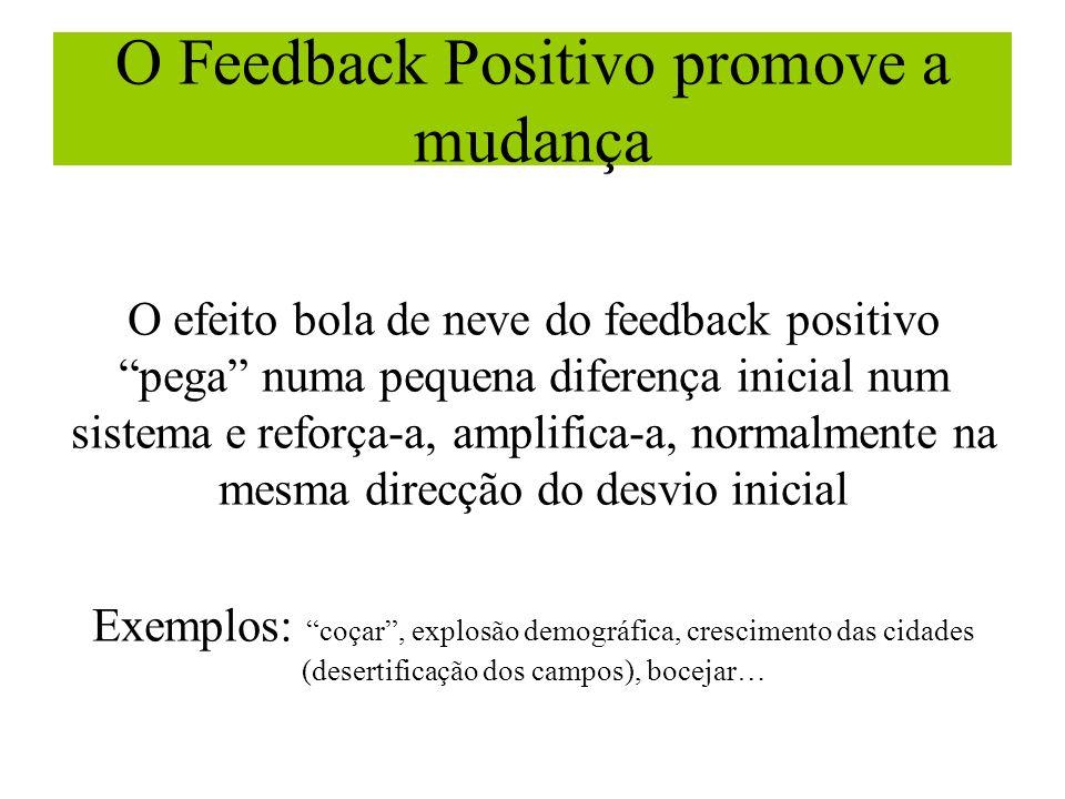 O Feedback Positivo promove a mudança O efeito bola de neve do feedback positivo pega numa pequena diferença inicial num sistema e reforça-a, amplific