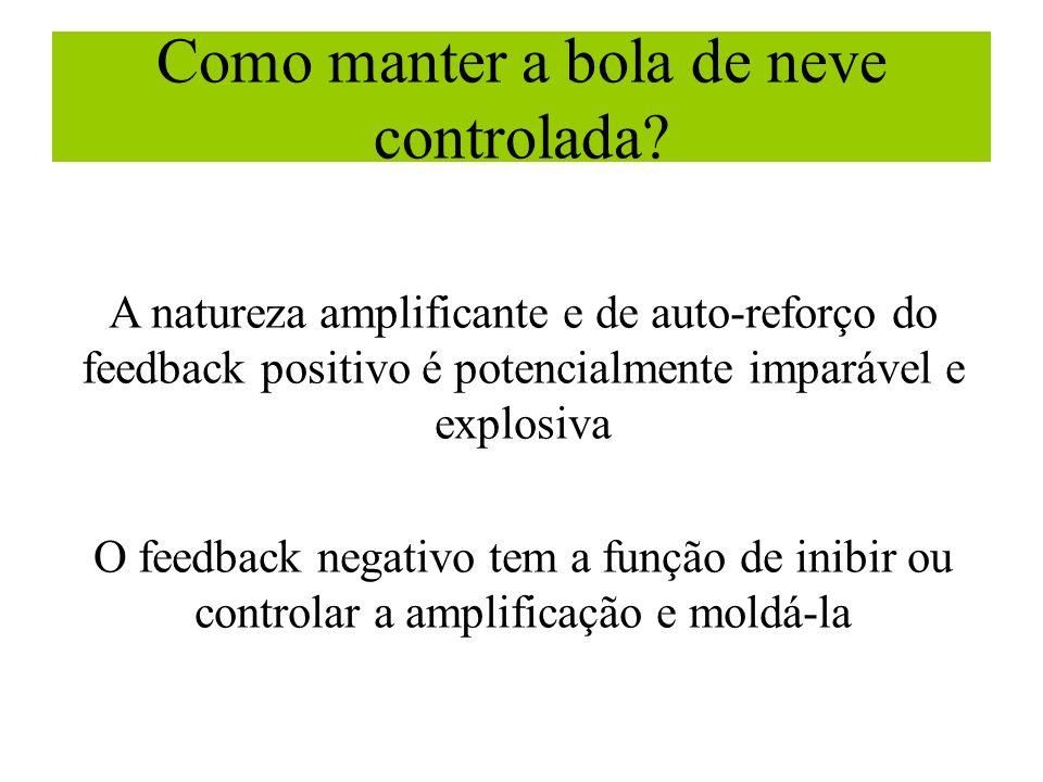 Como manter a bola de neve controlada? A natureza amplificante e de auto-reforço do feedback positivo é potencialmente imparável e explosiva O feedbac