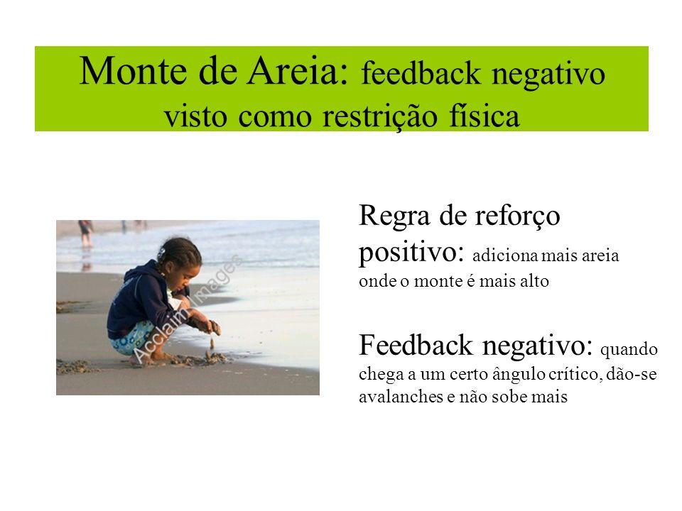 Monte de Areia: feedback negativo visto como restrição física Regra de reforço positivo: adiciona mais areia onde o monte é mais alto Feedback negativ