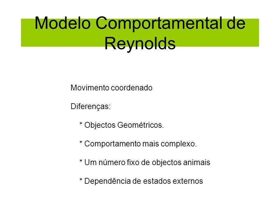 Modelo Comportamental de Reynolds Movimento coordenado Diferenças: * Objectos Geométricos. * Comportamento mais complexo. * Um número fixo de objectos