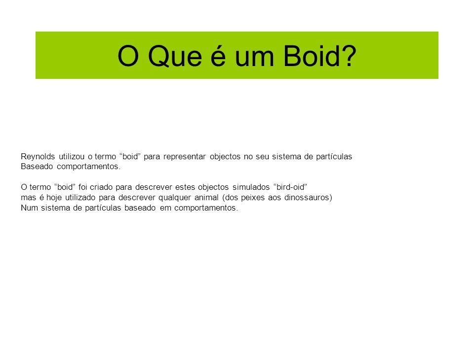 O Que é um Boid? Reynolds utilizou o termo boid para representar objectos no seu sistema de partículas Baseado comportamentos. O termo boid foi criado
