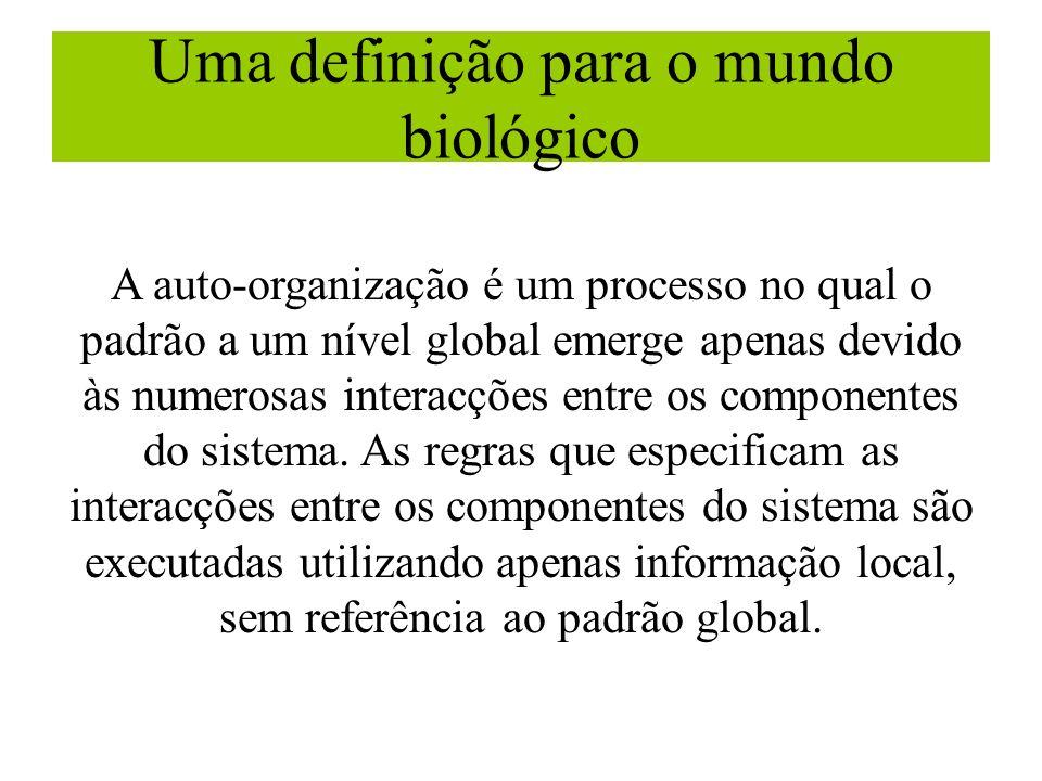 Uma definição para o mundo biológico A auto-organização é um processo no qual o padrão a um nível global emerge apenas devido às numerosas interacções