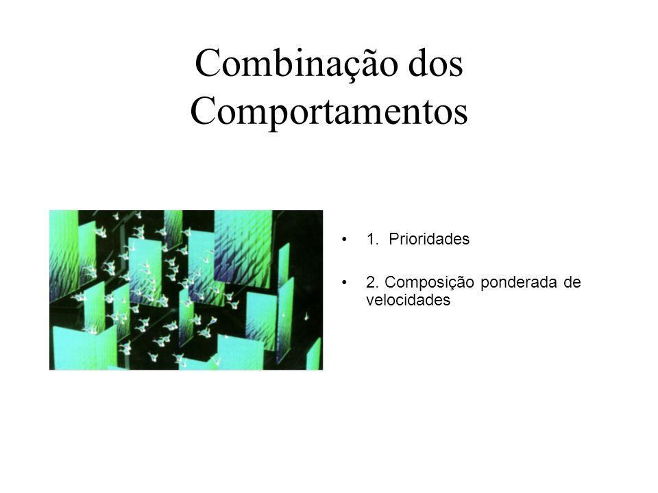 Combinação dos Comportamentos 1. Prioridades 2. Composição ponderada de velocidades
