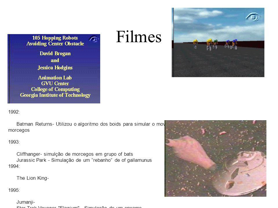 Filmes 1992: Batman Returns- Utilizou o algoritmo dos boids para simular o movimento em grupo de pinguins e morcegos 1993: Cliffhanger- simulção de mo