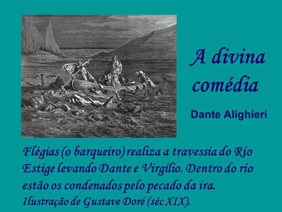 Flégias (o barqueiro) realiza a travessia do Rio Estige levando Dante e Virgílio. Dentro do rio estão os condenados pelo pecado da ira. Ilustração de
