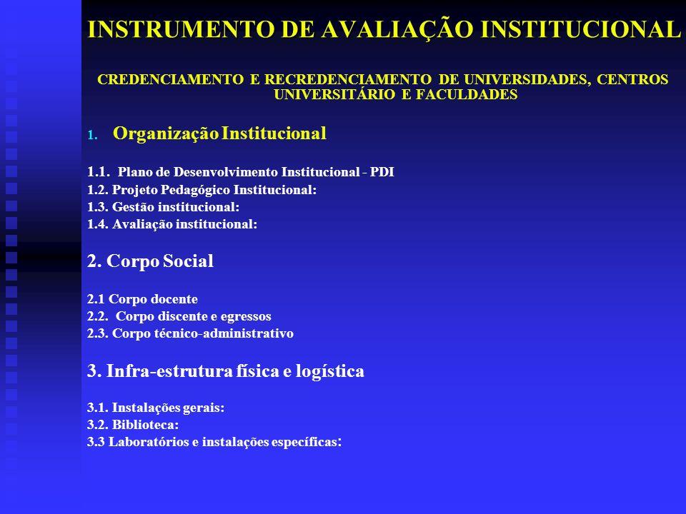 INSTRUMENTO DE AVALIAÇÃO INSTITUCIONAL CREDENCIAMENTO E RECREDENCIAMENTO DE UNIVERSIDADES, CENTROS UNIVERSITÁRIO E FACULDADES 1.