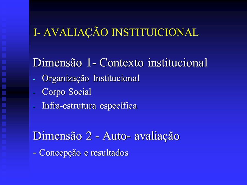 I- AVALIAÇÃO INSTITUICIONAL Dimensão 1- Contexto institucional - Organização Institucional - Corpo Social - Infra-estrutura específica Dimensão 2 - Auto- avaliação - Concepção e resultados