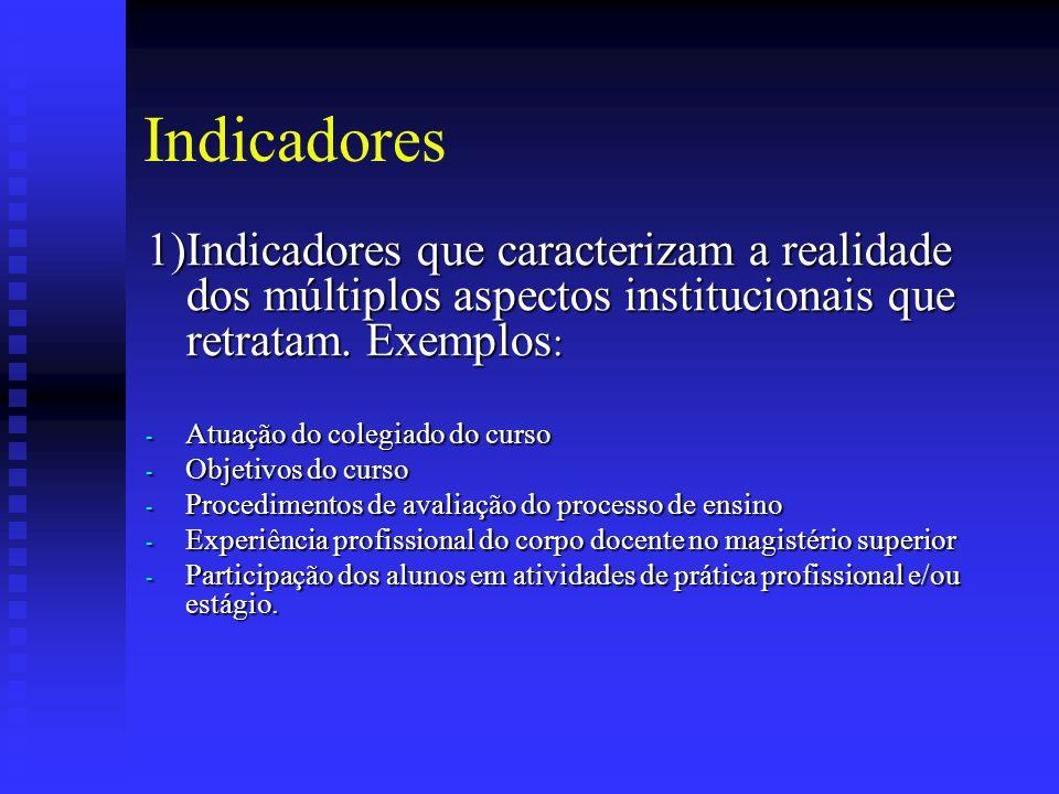 Indicadores 1)Indicadores que caracterizam a realidade dos múltiplos aspectos institucionais que retratam.