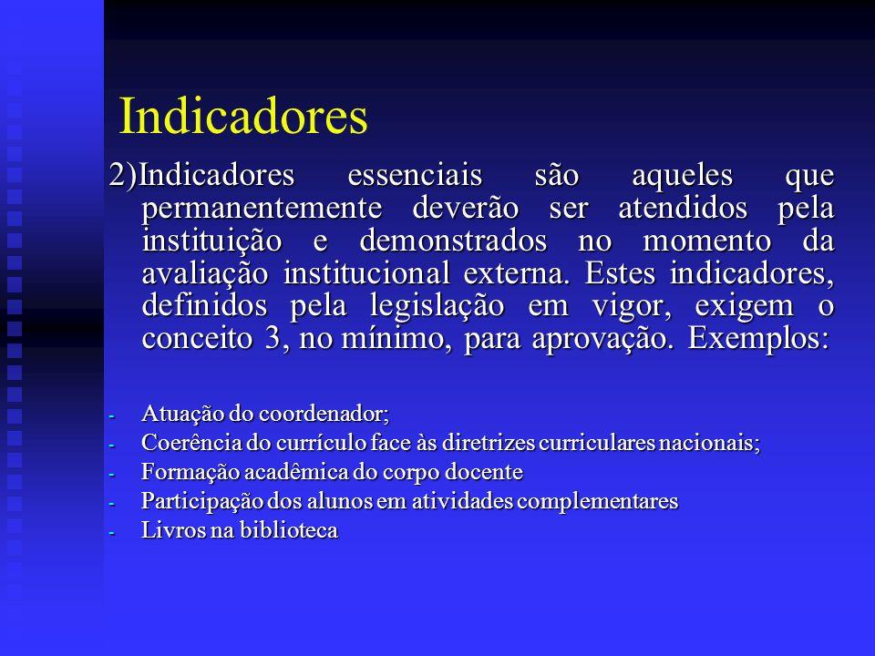 Indicadores 2)Indicadores essenciais são aqueles que permanentemente deverão ser atendidos pela instituição e demonstrados no momento da avaliação institucional externa.