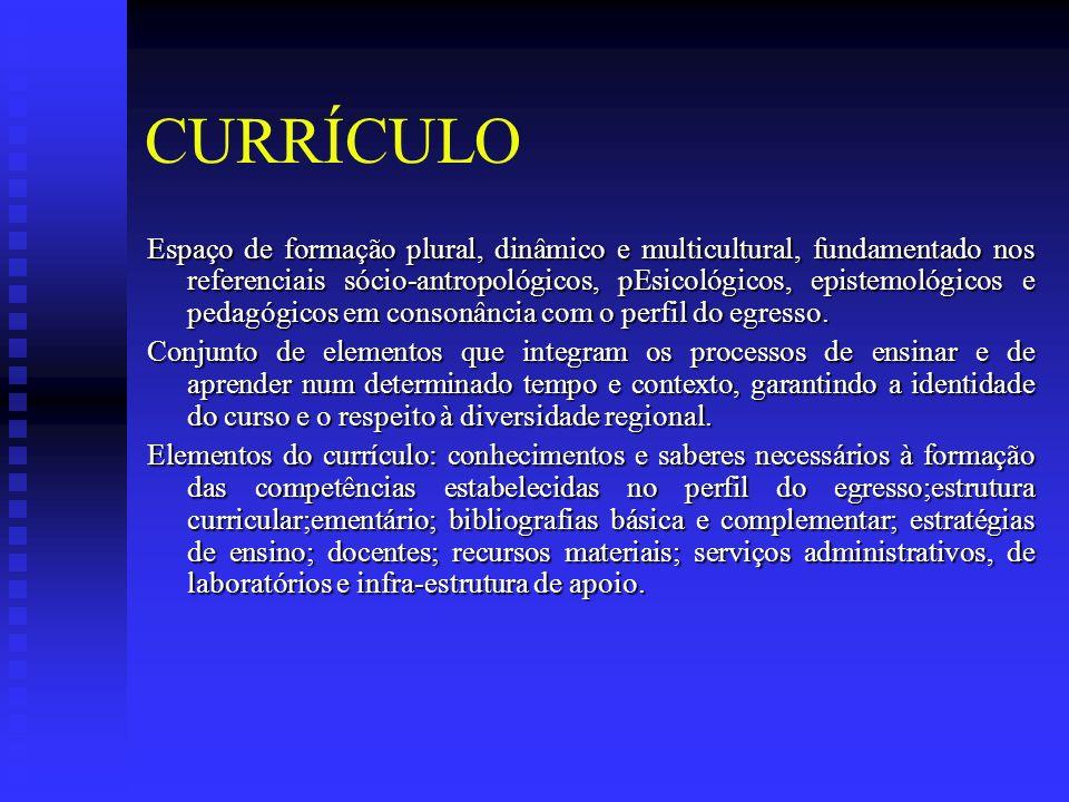 CURRÍCULO Espaço de formação plural, dinâmico e multicultural, fundamentado nos referenciais sócio-antropológicos, pEsicológicos, epistemológicos e pedagógicos em consonância com o perfil do egresso.